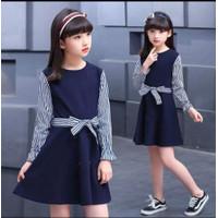 Dress anak casual umur 5-8tahun / baju anak cewek lengan panjang COD