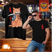 SJR T Shirt KAOS DISTRO PRIA SABLON COTTON COMBED 28s SAMURAI KUCING