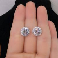 Anting Tusuk Silver Permata Solitaire Ring Pinggir Keliling Diamond