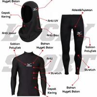 PROMO!! PAKET Baselayer Baju Legging dan Kerudung Gym Fitness Renang