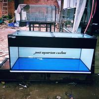 aquarium 100x50x50 8mm full stiker orecall kombinasi biru putih