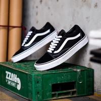 Sepatu Casual Skateboard Vans Old Skool Black White Global Market Ori