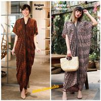 Long Kaftan Dress Batik Terusan Panjang Modern - Parang rsk sogan