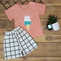 baju santai anak Setelan Anak Cewek SALEM Ice Cream Import Lucu