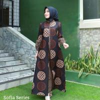 Baju dress gamis cardi jumbo ld 120 wanita batik katun sofia series