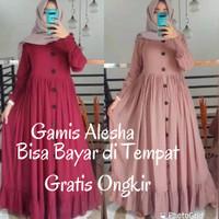 Baju Gamis Syari Wanita Modern Terbaru Alesha Plain Maxy Termurah