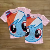 Baju Kaos Atasan Anak Perempuan My Little Pony Rainbow Dash Head Pink