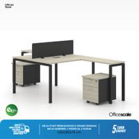 Meja Kerja Kantor T Shape Berhadapan 2 Orang + Meja Samping + Pedestal