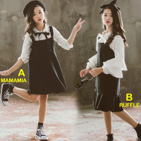 Setelan Overall Dress Anak Perempuan Western Black And White