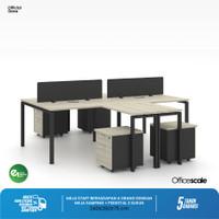 Meja Kerja Kantor + Shape Berhadapan 4 Orang + Meja Samping + Pedestal