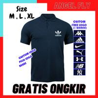 ( BEBAS PILIH LOGO ) Kaos Polo Shirt Polos Kaos Kerah Pria Navy
