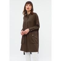 Minimal Cargo Poc Shirt Dress Black Olive
