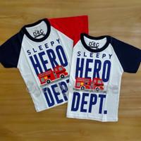 Baju Kaos Atasan Anak Laki Laki Fire Truck Mobil Pemadam Damkar Hero
