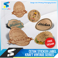 Stiker Sticker Kraft Vintage Label Produk Souvenir Pernikahan Custom