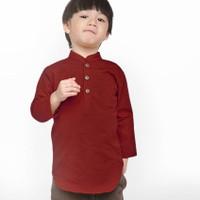 KEMEJA KOKO ANAK Lengan Panjang MERAH MAROON 1 - 10 Tahun Baju Koko