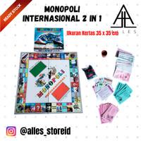 Mainan Anak Laki/Perempuan Monopoli Internasional/Ular Tangga 2 in 1