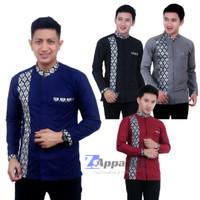 Baju Koko Batik Kombinasi Pria Motif Sisik Modern Lengan Panjang