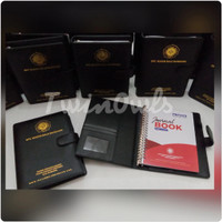 buku agenda kulit hitam polos custom logo seminar dengan ring binder