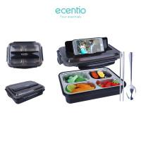 Ecentio 4 kotak makan siang sendok stainless steel anti tumpah