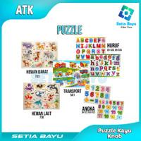 Puzzle Kayu Knob Mainan Anak Puzzle Kayu Murah Mainan Edukasi Anak - HURUF BESAR