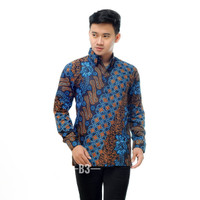 Kemeja cowok pria Kemeja batik murah Baju seragam panjang - Seno Biru, L