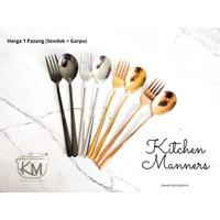 Sendok Garpu Korea Sujeo 1 Set Gold Chrome SUS 304 Food Grade Modist