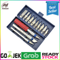 Set Alat Pisau Ukir Seni 13 in 1 Crafting Art Knife with 3 Handle