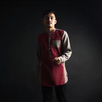 Baju Koko Pria Kurta Pakistan / Gamis Two Tone Maroon Dark Grey - M