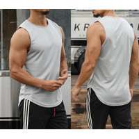 SL12 Singlet GYM - Kaos Gym Fitnes - Baju Training Fitness Pria - Abu-abu, M