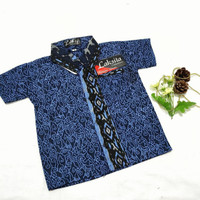 Baju batik anak + batik anak laki-laki lengan pendek + batik halus