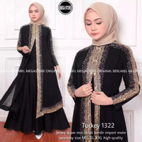 Baju muslim abaya arab turkey 1322 hitam gamis dress size M L XL XXL