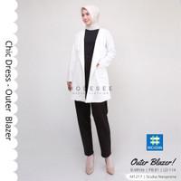 Baju Wanita Muslimah Modern Outer Blazer Chic Dress Outerwear 4.3 - Broken White