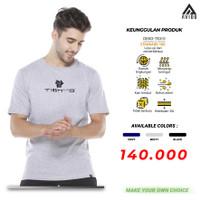 Baju Kaos Polos Tiento T-Shirt Kaos Oblong Pria Kaos Lengan Pendek Ori - Abu-abu, S