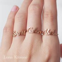 Parsel Ramadan Luna Kitsune Cincin Satu Nama Wanita Emas Gift