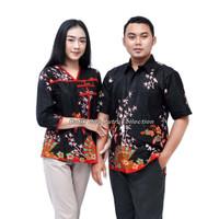 Couple Batik Blouse Wanita Kemeja Pria Kipas Ratu Batik Dua Putri