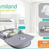 Omiland Kasur Bayi Lipat Oval Bumper Print Abu Kelambu Panda OBK5311