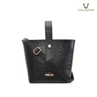 Handbag selempang wanita Croco Voila Belle Black