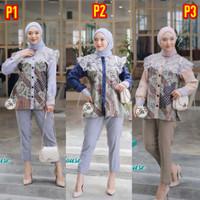 Blouse Batik Wanita - Warna Biru Putih - Atasan Wanita - MODERN