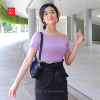 HanaFashion - Kirei Sabrina Crop Top T-Shirt Kaos Pendek Wanita Murah - Ungu, S