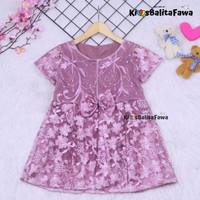 Dress Raisa uk 2-3 Tahun / Gaun Brukat Pesta Baju Import Baby Girl