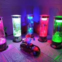 Aquarium Akuarium Mini Tabung Ikan Cupang Guppy Hias full Hiasan Lampu - Biru, T;17,5 cm D;5,5
