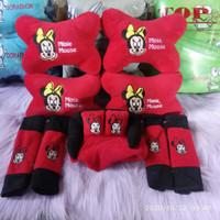 Bantal Jok Mobil MINIE MOUSE Merah Headrest Car Pillow Set 9 Pcs Red