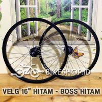 Wheelset Velg Hitam Uk.16 Alloy Depan Belakang Rims Roda Sepeda