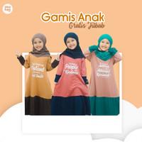 Set Gamis Anak Premium Baju + Jilbab Bergo Hijab Nuhaa Kids Baju Anak - Almond Brown, S