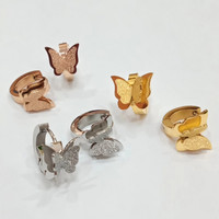 ANTING JEPIT STAINLESS STEEL ANTING WANITA BUTTERFLY - Gold