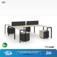 Meja Kerja Kantor H Shape Berhadapan 4 Orang + Meja Samping + Pedestal