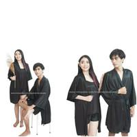 baju tidur kimono couple pasangan pengantin pria wanita satin hitam