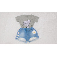 Baju Anak Setelan Kaos Snoopy Celana Jeans Pendek Bunga Lucu Import