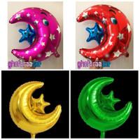Balon foil Bulan Sabit Bintang polos motif gold hijau merah pink biru