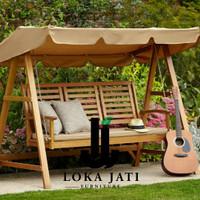 ayunan taman minimalis kayu jati solid